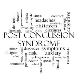 Post Concussion Syndrome Word Cloud Concept in black and white with great terms such as brain, injury, trauma and more.