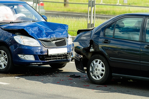 Two cars on street after a car accident