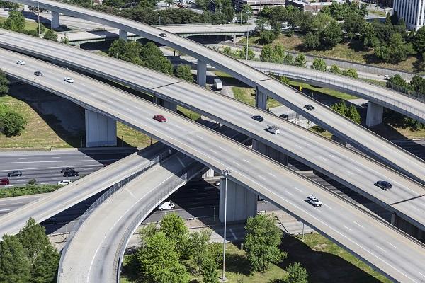 Sprawling suburban freeway interchange aerial
